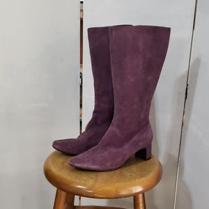 Venezia ladies purple heeled boots